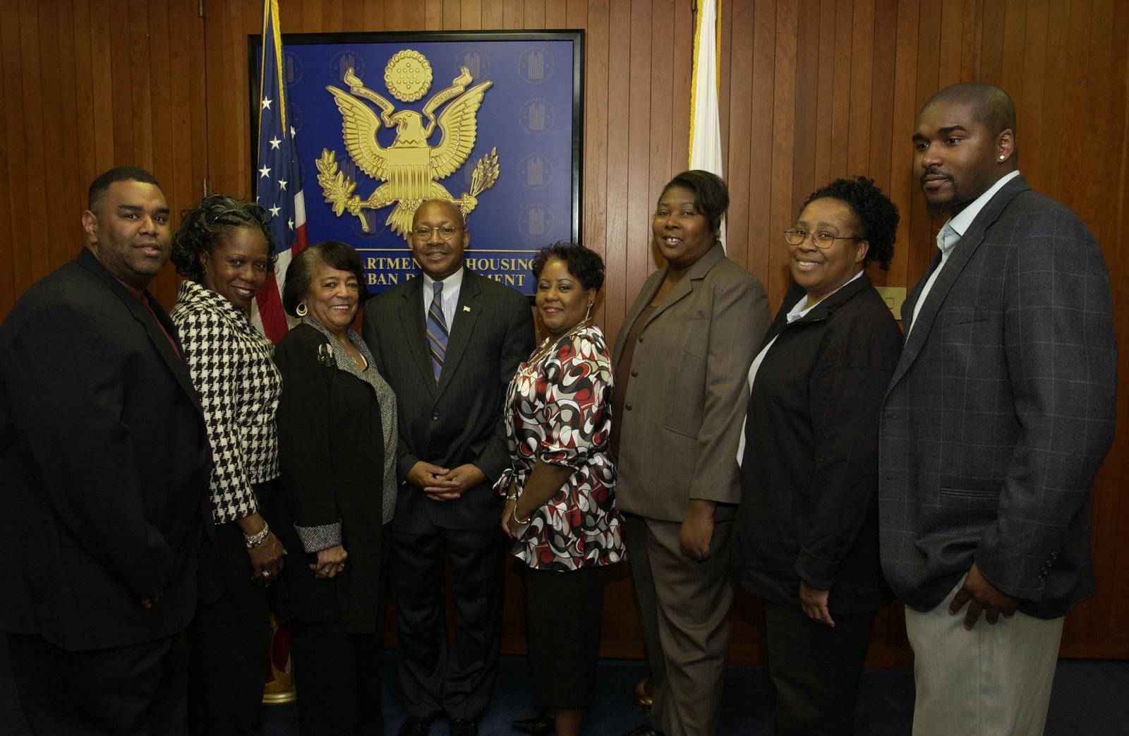 Secretary Alphonso Jackson with HUD Staff - Secretary Alphonso Jackson posing with HUD staff during final week at HUD