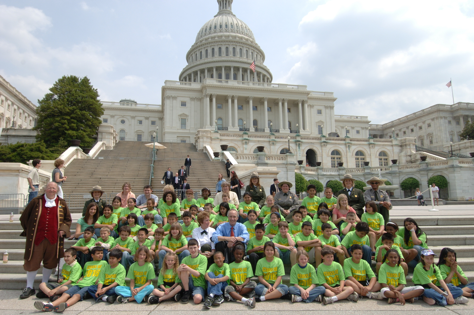 [Assignment: 48-DPA-04-24-08_SOI_K_CC_School] Secretary Dirk Kempthorne [and other officials speaking, touring, posing with the] schoolchildren who assembled for the press conference, [on the steps of the U.S. Capitol], announcing the final list of National Park Centennial Challenge projects [to be funded in 2008. The Centennial Challenge is the public-private fund matching element of the President's National Park Centennial Initiative, designed to prepare the National Park system for another century of conservation and preservation in time for the National Park Service's 100th anniversary in 2016.] [48-DPA-04-24-08_SOI_K_CC_School_DOI_2547.JPG]