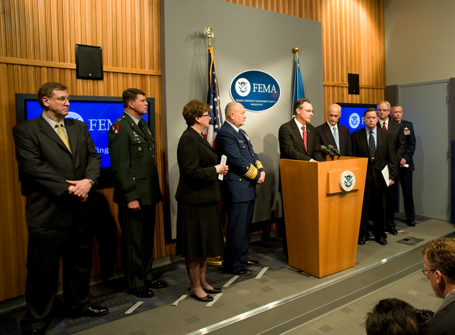 Washington, DC, May 20, 2008 -- FEMA Administrator Paulison at the podium during a press conference at FEMA headquarters. FEMA is hosting their First Hurricane Awareness Day at FEMA headquarters to highlight the federal government's preparations for the 2008 Hurricane Season. On the dais; L-R, Mr. James. J. Madon, Director and Deputy Manager of the National Communications System in the Department of Homeland Security, Major General Guy C. Swan III, Chief of Operations for Headquarters, U.S. Northern Command, Ms. Mary S. Elcano, Acting President and CEO, American Red Cross, Admiral Thad W. Allen, Commandant, U.S.Coast Guard, FEMA Administrator David Paulison (at podium), DHS Secretary, Michae