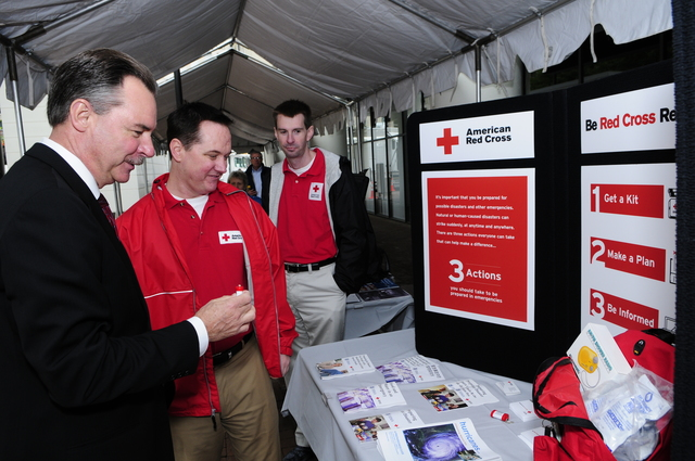 Washington, DC, May 20, 2008 -- FEMA Administrator R. David Paulison, visits the American Red Cross display at FEMA Headquarters.  The display was one of many open to the public as part of Hurricane Awareness Day.  Barry Bahler/FEMA