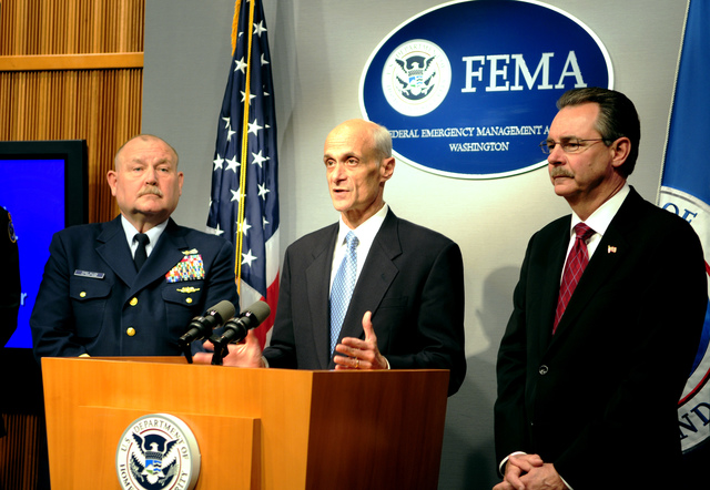 Washington, DC, May 20, 2008 -- Hurricane Awareness Day at FEMA Headquarters was concluded with a press conference, headed by: (l-r)  US Coast Guard, Commandant, Thad Allen; Department of Homeland Security Secretary, Michael Chertoff and FEMA Administrator, R. David Paulison.  Barry Bahler/FEMA