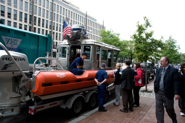 Washington, DC, May 22, 2008 -- The US Coast Guard brought a rescue boat to FEMA's Hurricane Awareness Day at FEMA Headquarters.  FEMA hosted the event to help citizens become aware of the coming Hurricane Season.  FEMA/Bill Koplitz