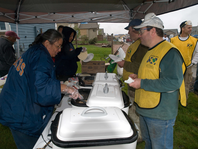 [Severe Storms and Tornadoes] Windsor, Colorado, May 26, 2008 -- Gloria Rodriguez, a Windsor resident served up hot fresh burritos for volunteers. Photo: Michael Rieger/FEMA
