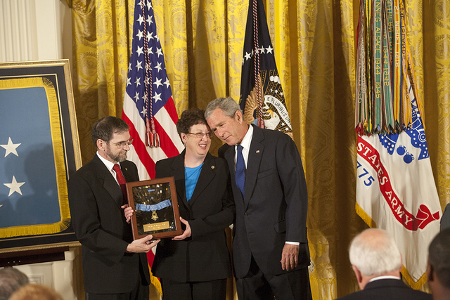 President George W. Bush with Parents of Medal of Honor Recipient Private First Class Ross A. McGinnis