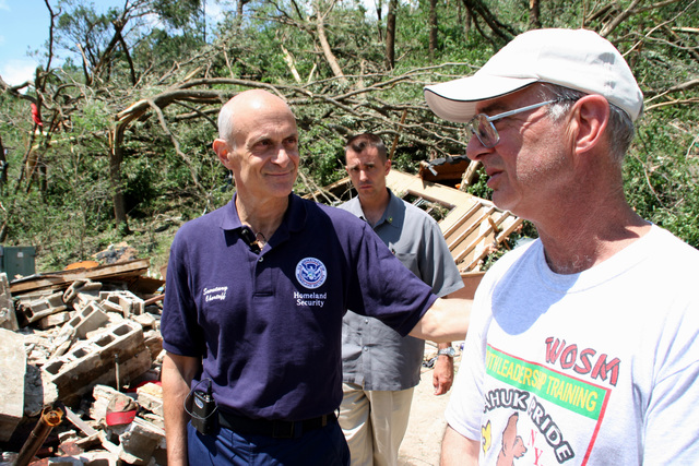 [Severe Storms, Tornadoes, and Flooding] Little Sioux, IA, June 12, 2008 -- Department of Homeland Security Secretary Michael Chertoff consoles Dave Jacobs, the Food Manager at the Little Sioux Boy Scout Ranch in western Iowa that was hit by a tornado on Wednesday.  Four scout campers were killed and over forty were injured.  Photo by Greg Henshall / FEMA