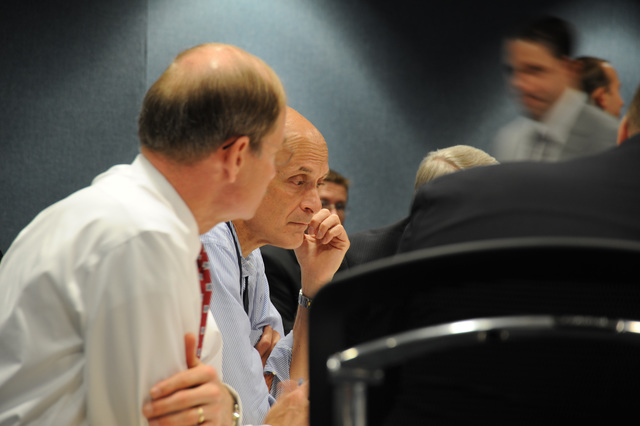 [Severe Storms, Tornadoes, and Flooding] Washington, DC, June 13, 2008 -- DHS Secretary Michael Chertoff with FEMA officials at the FEMA video teleconference at FEMA headquarters.  Bill Koplitz/FEMA