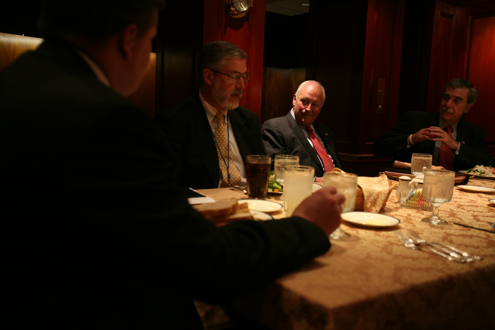 Vice President Cheney with David Addington at Economic Principals Lunch Held in the Ward Room of the White House Mess