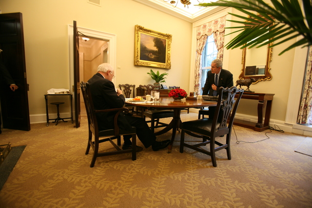 President Bush and Vice President Cheney Have Lunch in Private Dining Room