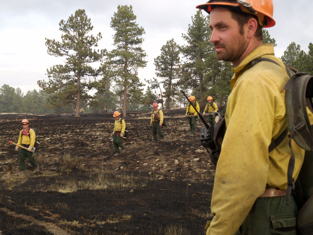 Park County, CO, June 27, 2008 -- Dan C. Muir of the US Forest Service watches a hand crew come off duty in the Nash Ranch Fire. By late in the day, the fire had expanded to 1,100 acres. Photo: Bryan Dahlberg/FEMA