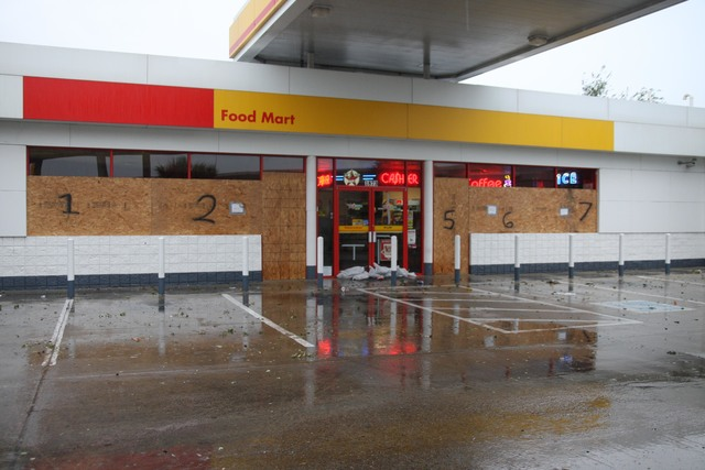 [Hurricane Dolly] Brownsville, TX, July 23, 2008 -- Local gas stations and convenient stores with boarded up windows and doors; Many stores were closed for the day preparing for Hurricane Dolly. Jacinta Quesada/FEMA