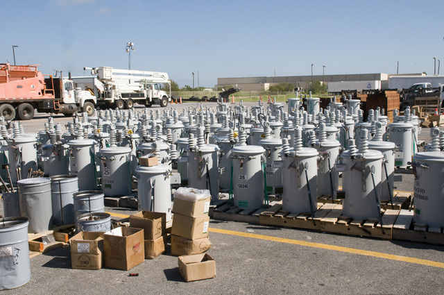 [Hurricane Dolly] Port Isabel, Texas, July 28, 2008 -- Transformers sit in a staging area in Port Isabel waiting for crews to bring them to towns in South Texas which lost power during Hurricane Dolly.  Power companies from around the United States sent crews to help with the recovery efforts in South Texas.  Photo by Patsy Lynch/FEMA