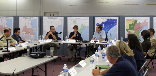 [Hurricane Dolly] McAllen,TX, August 5, 2008 -- FEMA Federal Coordinating Officer, Sandy Coachman addresses Congressional staff at a briefing held at the Joint Field Office. In a continuing effort to support the needs of constituents, Congressional members and staffers were invited to visit the Federal /State Joint Field Office, to receive updates on the recovery process, see the operations and receive answers to  questions they may have regarding the recovery efforts for Hurricane Dolly.