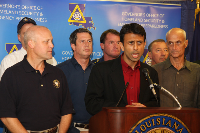[Hurricane Gustav] New Orleans, LA, August 31, 2008 -- Governor Bobby Jindal and DHS Secretary Michael Chertoff, along with State and local Government officials meet with the press at the EOC in Baton Rouge to answer questions about Hurricane Gustav and how the State is preparing.  Jacinta Quesada/FEMA