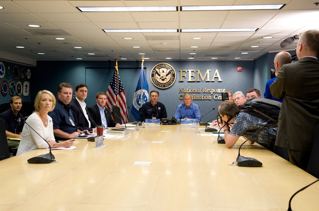 [Hurricane Gustav] Washington, DC, August 31, 2008 --  President George W. Bush joins FEMA Administrator David Paulison and FEMA Deputy Administrator Harvey Johnson and other FEMA staff for a Video Teleconference with Federal Partners, FEMA Regions and the states which will possibly be affected by Hurricane Gustav at FEMA headquarters.  FEMA/Bill Koplitz