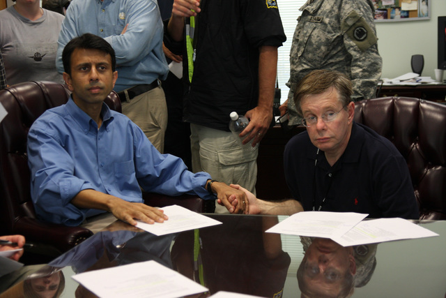 [Hurricane Gustav] Houma, LA, September 2, 2008 -- Governor Bobby Jindal holds  Parish President Michel Claudet hand, comforting him during this difficult time about the damages, caused by Hurricane Gustav in Houma. Jacinta Quesada/FEMA