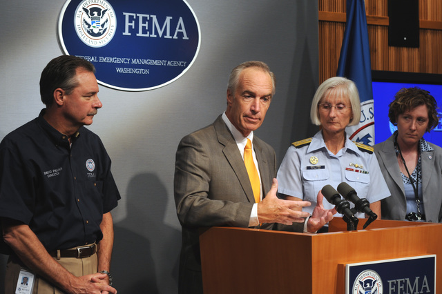[Hurricane Gustav] Washington, DC, September 2, 2008 -- Dirk Kempthorne, Secretary, Department of the Interior is at the podium during the afternoon press conference at FEMA headquarters.  With him on stage are: (left), FEMA Administrator David Paulison (other side of Mr. Kempthorne) RADM Sally Brice-O'Hara, Deputy Commandant for Operations, USCG, Diana Roth-Smith, Executive Director, National Voluntary Organizations Active in Disasters.  FEMA/Bill Koplitz