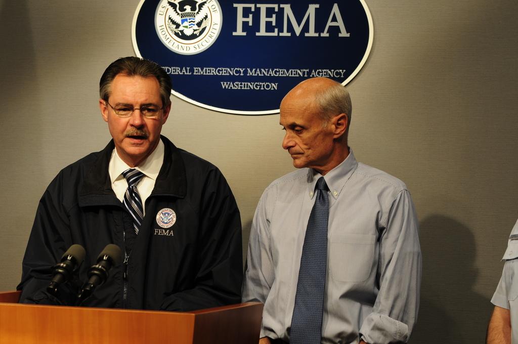 [Hurricane Ike] Washington, DC, September 12, 2008 --  FEMA Administrator, R. David Paulison (L)  and Michael Chertoff, Secretary, Department of Homeland Security (DHS) address the media on Hurricane Ike, during a press conference at FEMA Headquarters.  Barry Bahler/FEMA