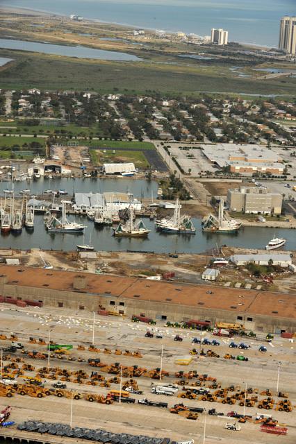 [Hurricane Ike] Galveston Island, TX, September 16, 2008 -- Aerial view of the port of Galveston where a number of shrimp boats are docked.  Jocelyn Augustino/FEMA