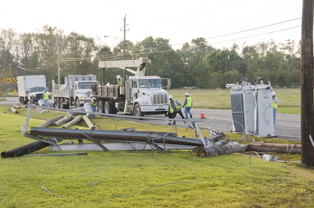 [Hurricane Ike] Seabrook, TX, September 17, 2008 -- Utility crews work to restore transformers that were damaged during Hurricane Ike. Photo by Patsy Lynch/FEMA