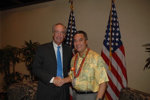 """[Assignment: 48-DPA-09-29-08_SOI_K_Isl_Conf_Lead] Participants in the Insular Areas Health Summit [(""""The Future of Health Care in the Insular Areas: A Leaders Summit"""") at the Marriott Hotel in] Honolulu, Hawaii, where Interior Secretary Dirk Kempthorne [joined senior federal health officials and leaders of the U.S. territories and freely associated states to discuss strategies and initiatives for advancing health care in those communinties [48-DPA-09-29-08_SOI_K_Isl_Conf_Lead_DOI_0781.JPG]"""