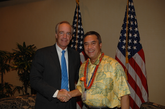 """[Assignment: 48-DPA-09-29-08_SOI_K_Isl_Conf_Lead] Participants in the Insular Areas Health Summit [(""""The Future of Health Care in the Insular Areas: A Leaders Summit"""") at the Marriott Hotel in] Honolulu, Hawaii, where Interior Secretary Dirk Kempthorne [joined senior federal health officials and leaders of the U.S. territories and freely associated states to discuss strategies and initiatives for advancing health care in those communinties [48-DPA-09-29-08_SOI_K_Isl_Conf_Lead_DOI_0782.JPG]"""