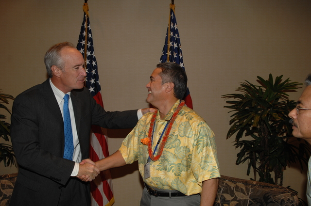 """[Assignment: 48-DPA-09-29-08_SOI_K_Isl_Conf_Lead] Participants in the Insular Areas Health Summit [(""""The Future of Health Care in the Insular Areas: A Leaders Summit"""") at the Marriott Hotel in] Honolulu, Hawaii, where Interior Secretary Dirk Kempthorne [joined senior federal health officials and leaders of the U.S. territories and freely associated states to discuss strategies and initiatives for advancing health care in those communinties [48-DPA-09-29-08_SOI_K_Isl_Conf_Lead_DOI_0780.JPG]"""