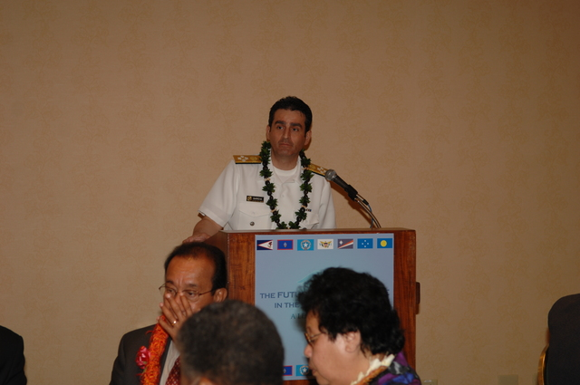 """[Assignment: 48-DPA-09-29-08_SOI_K_Isl_Conf_Lunch] [Health and Human Services Assistant Secretary of Health Joxel Garcia] delivering lunchtime address during the Insular Areas Health Summit [(""""The Future of Health Care in the Insular Areas: A Leaders Summit"""") at the Marriott Hotel in] Honolulu, Hawaii, [where Garcia joined] Interior Secretary Dirk Kempthorne, [other federal officials, and leaders of the U.S. territories and freely associated states to discuss strategies and initiatives for advancing health care in those communities] [48-DPA-09-29-08_SOI_K_Isl_Conf_Lunch_DOI_0639.JPG]"""