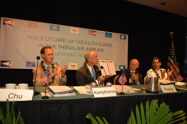 "[Assignment: 48-DPA-09-29-08_SOI_K_Isl_Conf_Sign] Signing of interagency coordination pledge at the Insular Areas Health Summit [(""The Future of Health Care in the Insular Areas: A Leaders Summit"") at the Marriott Hotel in] Honolulu, Hawaii, where Interior Secretary Dirk Kempthorne [joined senior federal health officials and leaders of the U.S. territories and freely associated states to discuss strategies and initiatives for advancing health care in those communities [48-DPA-09-29-08_SOI_K_Isl_Conf_Sign_DOI_0614.JPG]"