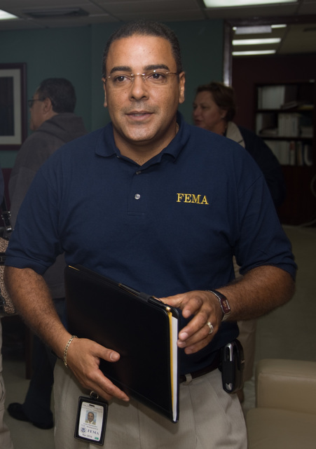 Severe Storm - San Juan, Puerto Rico, October 3, 2008 -- FEMA Federal Coordinating Officer, Justo Hernandez meets with Puerto Rico Emergency Management Agency to coordinate recovery efforts following recent flooding in Puerto Rico. Andrea Booher/FEMA