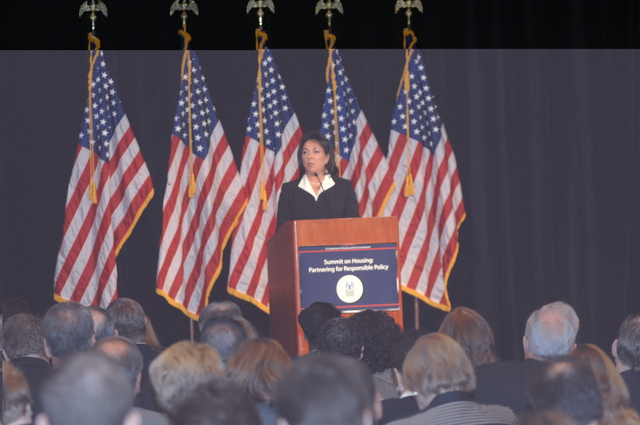 "Housing Summit - HUD-sponsored Summit on Housing, ""Partnering for Responsible Policy,"" [with Assistant Secretary for Community Planning and Development, Susan Peppler, among the speakers], at Mandarin Hotel, Washington, D.C."