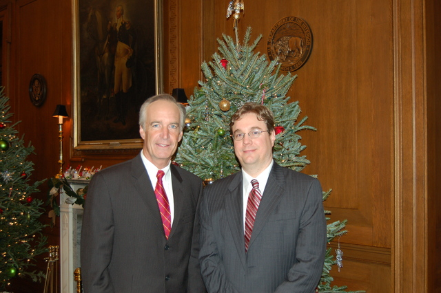 [Assignment: 48-DPA-12-12-08_SOI_K_Josh] Secretary Dirk Kempthorne with Joshua Mauthe, [Special Assistant to the Secretary, at Main Interior] [48-DPA-12-12-08_SOI_K_Josh_DSC_0006.JPG]