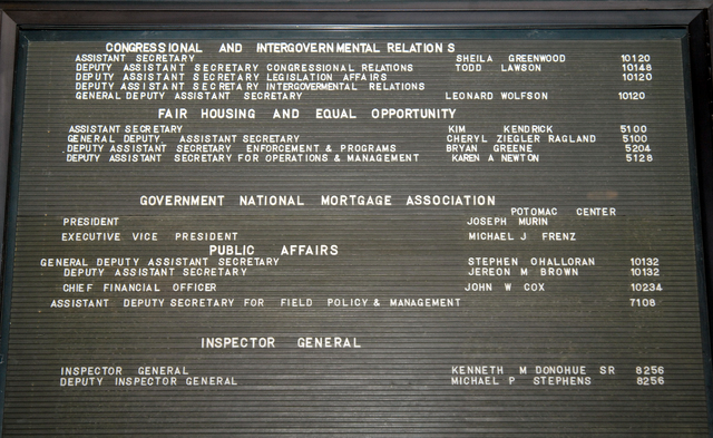 HUD Leadership Name Panels, South Lobby - Panels [showing names, titles, office locations of high-ranking HUD officials], South Lobby, HUD Headquarters