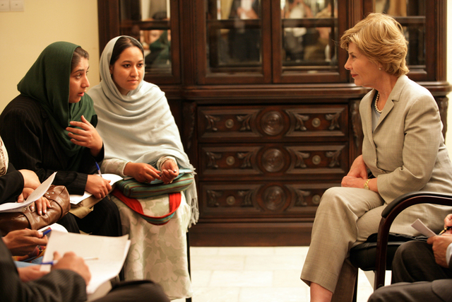 Mrs. Laura Bush Speaks with Faculty and Students in Afghanistan