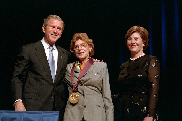 President George W. Bush and Mrs. Laura Bush with 2001 National Medal of Arts Recipient Helen Frankenthaler