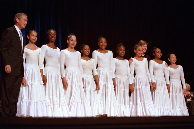 President George W. Bush and Mrs. Laura Bush with Members of the Alvin Ailey Dance Theatre