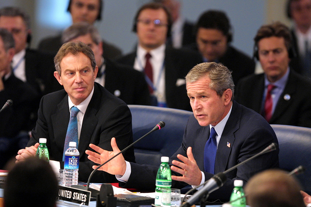President George W. Bush and Prime Minister Tony Blair of Great Britain at  Meeting of the NATO-Russia Council - U.S. National Archives Public Domain  Search