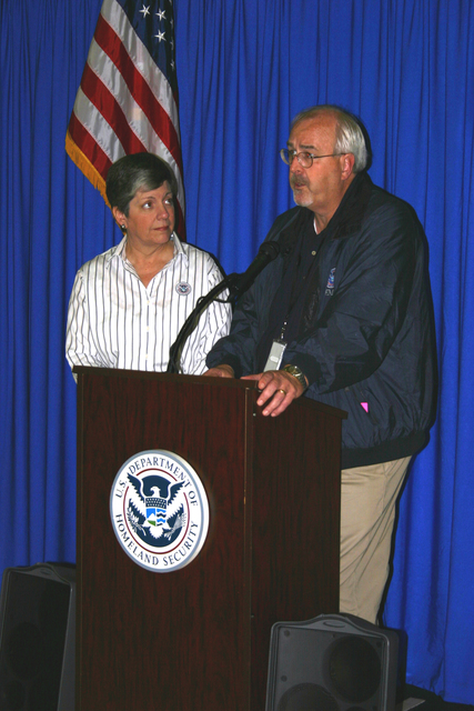 Hurricane/Tropical Storm - Lake Mary, Fla. , May 22, 2009 -- FEMA Administrator Craig Fugate joins DHS Secretary Janet Napolitano at a news conference. The event was part of a Florida tour centering on hurricane preparedness efforts. Greig Powers/FEMA.