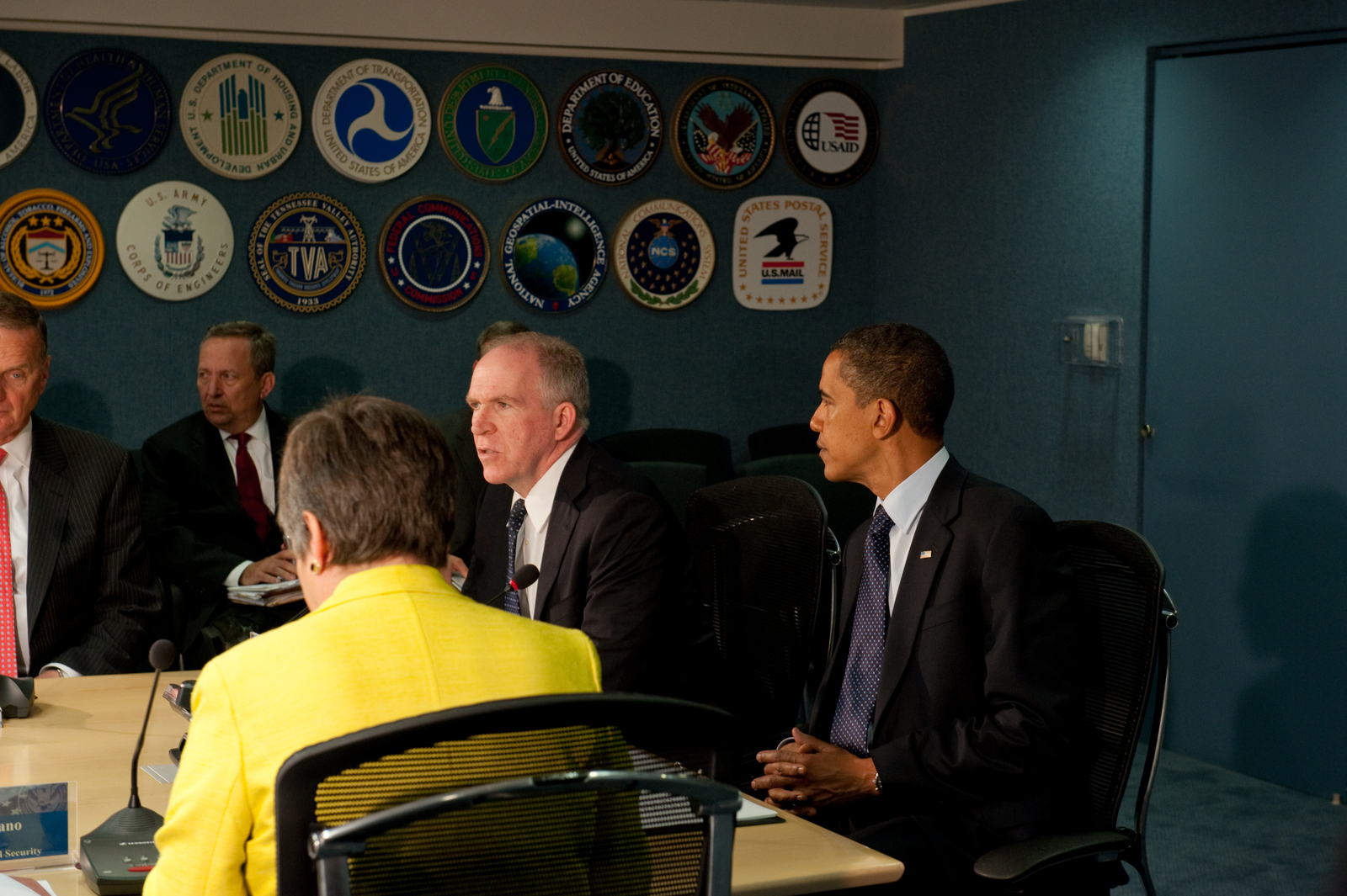 Washington, D. C. , May 29, 2009 -- President Obama at FEMA headquarters at a meeting of the Homeland Security Council, with him at the head of the table is the President of the Council, John O. Brennen.  June 1 marks the beginning of hurricane season and Mr. Obama was briefed by Federal Agencies and Departments that respond to Hurricanes.  FEMA/Bill Koplitz