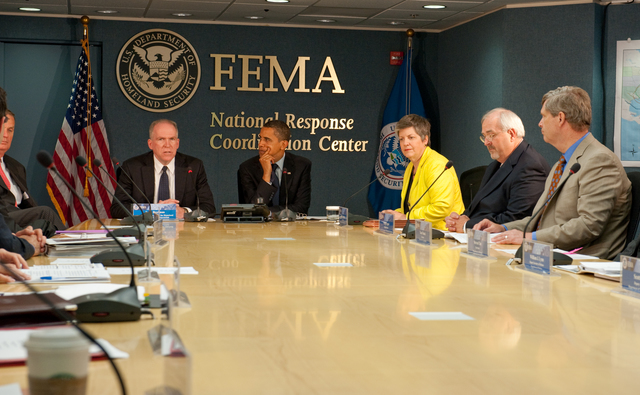 Washington, D. C. , May 29, 2009 -- President Obama at FEMA headquarters at a meeting of the Homeland Security Council, with him at the head of the table is Council president John O. Brennen, to his right, (y) DHS Secretary Janet Napolitano and FEMA Administrator W. Craig Fugate.  June 1 marks the beginning of hurricane season and Mr. Obama was briefed by Federal Agencies and Departments involved in Hurricane response and recovery.  FEMA/Bill Koplitz