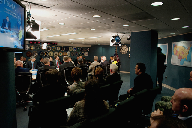Washington, D. C. , May 29, 2009 -- President Obama at FEMA headquarters in a meeting of the Homeland Security Council.  June 1 marks the beginning of hurricane season and Mr. Obama was briefed by Federal Agencies and Departments involved in Hurricane response and recovery.  FEMA/Bill Koplitz