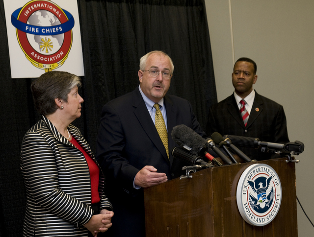 Emergency Planning and Security - Dallas, Texas, August 27, 2009 -- FEMA Administrator W. Craig Fugate answers questions while DHS Secretary Janet Napolitano and the new U. S. Fire Administrator Kelvin Cochran listen. Photo by Patsy Lynch/FEMA