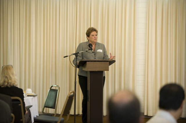 Emergency Planning and Security - Encino, Calif. , September 15, 2009 --  Nancy Ward, Regional Administrator, FEMA Region IX Office, delivers a presentation on earthquake and disaster preparedness to members of the City of Encino's Chamber of Commerce at the QuakeSmart luncheon.  September is National Preparedness month and FEMA is visiting with civic groups, like the Encino Chamber of Commerce, to encourage everyone to be prepared for the next earthquake or disaster.