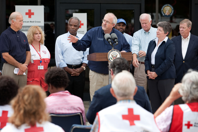 Flooding - Marietta, Ga. , September 25, 2009 -- FEMA Administrator Craig Fugate speaks while Vice President Joe Biden, Secretary Napolitano , Senator Isakson, Senator Chambliss and Representative Scott look on, outside a temporary shelter at the Cobb County Civic Center, in Marietta, Georgia, Friday, September 25, 2009.  Official White House Photo by David Lienemann
