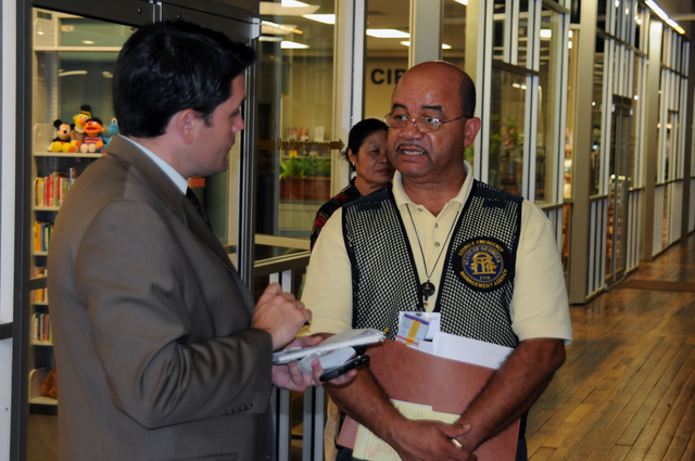 Flooding ^ Severe Storm - Austell, Ga. , September 25, 2009 -- At the Cobb County Disaster Recovery Center, state Lead Public Information Officer Ken Davis speaks with a news reporter. The state and FEMA are partners helping residents affected by recent storms and flooding here.  George Armstrong, FEMA