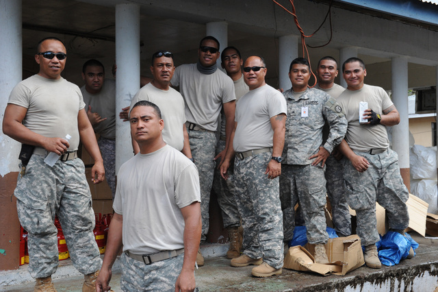 Earthquake ^ Tsunami - Asili, American Samoa, October 7, 2009 -- Soldiers of the Army Reserve take a well earned rest break after a long day of work.  Teaming with FEMA and the American Samoan Government these soldiers helped establish a supply distribution point in the village of Asili. David Gonzalez/FEMA