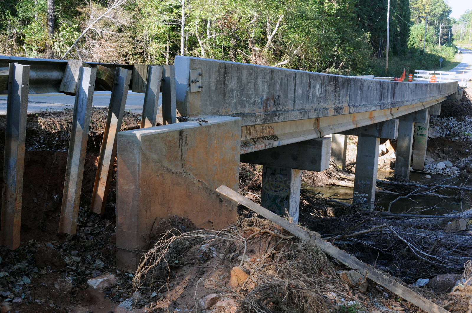 Flooding ^ Severe Storm - Douglasville, Ga. , October 19, 2009 -- The Britain Road bridge over the Douglas County Dog River has been closed due to undermining of basic supports by the September severe storms and flooding.  FEMA Public Assistance funds have been requested to pay a portion of the repair cost.  George Armstrong/FEMA