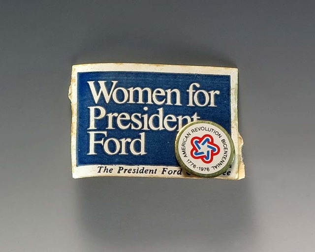 """Blue Campaign Sticker With the Text  """"Women For President Ford"""""""