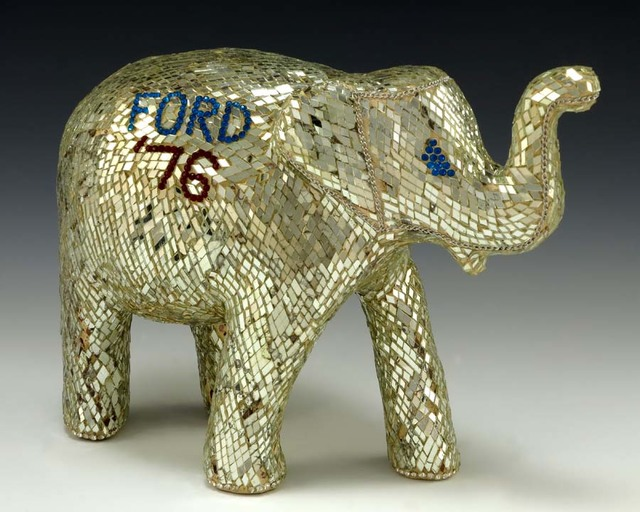 Elephant Sculpture Covered With Tiny, Diamond-Shaped Mirror Plates
