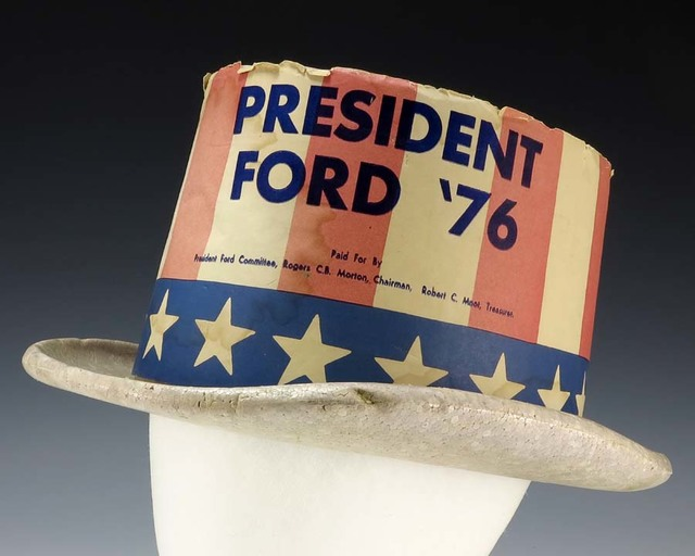 "Foam Campaign Top Hat With Stars and Stripes Motif with the Text ""President Ford '76"""