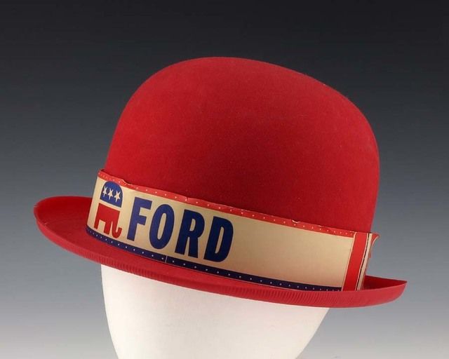 Red Plastic Campaign Bowler Hat